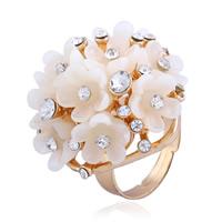 Zinklegierung Open -Finger-Ring, mit Harz, Blume, goldfarben plattiert, für Frau & mit Strass, frei von Nickel, Blei & Kadmium, 30mm, Größe:6-9, verkauft von PC