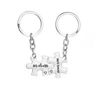 Zinklegierung Puzzle Paar Schlüsselanhänger, Platinfarbe platiniert, unisex & mit Brief Muster & Emaille, frei von Nickel, Blei & Kadmium, 24x31mm, verkauft von Paar
