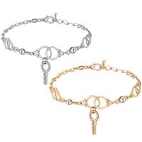 Zinklegierung Armband, Schlüssel, plattiert, Armband  Bettelarmband & Oval-Kette & für Frau & mit Strass, keine, frei von Nickel, Blei & Kadmium, 20x30mm, verkauft per ca. 8.66 ZollInch Strang