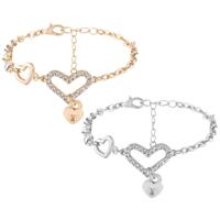 Zinklegierung Armband, Herz, plattiert, Armband  Bettelarmband & Oval-Kette & für Frau & mit Strass, keine, frei von Nickel, Blei & Kadmium, 15x35mm, verkauft per ca. 8.85 ZollInch Strang