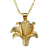 Messing Halskette, Blume, 24 K vergoldet, für Frau & gehämmert, 20.5x21mm, 2mm, verkauft per ca. 17 ZollInch Strang