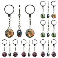 Schlüsselanhänger, Zinklegierung, mit Glas, flache Runde, Platinfarbe platiniert, Zeit Edelstein Schmuck & Aufkleber, keine, frei von Blei & Kadmium, 25mm, 3SträngeStrang/Tasche, verkauft von Tasche