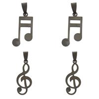 Edelstahl Schmuck Anhänger, Musiknote, verschiedene Größen vorhanden & Schwärzen, originale Farbe, Bohrung:ca. 4x8mm, 10PCs/Tasche, verkauft von Tasche