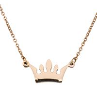 Edelstahl Schmuck Halskette, Krone, Wort Liebe, Rósegold-Farbe plattiert, Oval-Kette & für Frau, 17x7.5mm, 1mm, verkauft per ca. 15 ZollInch Strang