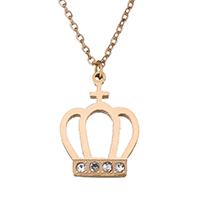 Edelstahl Schmuck Halskette, Krone, Rósegold-Farbe plattiert, Oval-Kette & für Frau & mit Strass, 11x15mm, 1mm, verkauft per ca. 15 ZollInch Strang