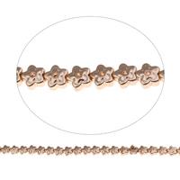 Nicht-magnetische Hämatit Perlen, Non- magnetische Hämatit, Blume, Rósegold-Farbe plattiert, 5.5x3mm, Bohrung:ca. 1mm, ca. 74PCs/Strang, verkauft per ca. 15.5 ZollInch Strang