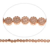 Nicht-magnetische Hämatit Perlen, Non- magnetische Hämatit, Blume, Rósegold-Farbe plattiert, 6.5x3.5mm, Bohrung:ca. 1mm, ca. 60PCs/Strang, verkauft per ca. 15.5 ZollInch Strang