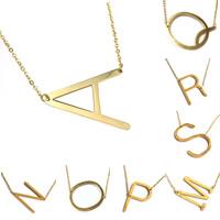 Edelstahl Schmuck Halskette, Buchstabe, goldfarben plattiert, Buchstaben sind von A bis Z & verschiedene Stile für Wahl & für Frau, 30x40mm, verkauft per ca. 18 ZollInch Strang