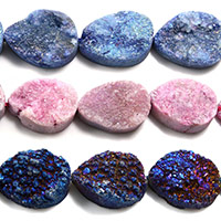 Natürliche Eis Quarz Achat Perlen, Eisquarz Achat, Tropfen, druzy Stil, keine, 12x16x6mm, Bohrung:ca. 1mm, ca. 12PCs/Strang, verkauft per ca. 8 ZollInch Strang