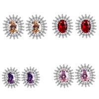 Zinklegierung Ohrstecker, mit Kristall, Edelstahl Stecker, plattiert, für Frau & facettierte, keine, frei von Blei & Kadmium, 15x12mm, verkauft von Paar