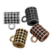 Messing Stiftöse Perlen, Zylinder, plattiert, Micro pave Zirkonia, keine, 7x8x5mm, Bohrung:ca. 1.5mm, 2.5mm, 30PCs/Menge, verkauft von Menge