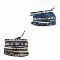 Unisex-Armband & Bangle, Kuhhaut, mit Edelstein & Baumwolle & Glas-Rocailles & Zinklegierung, Edelstahl Verschluss, plattiert, verschiedenen Materialien für die Wahl & einstellbar & 5-litzig, verkauft per ca. 37.4 ZollInch Strang