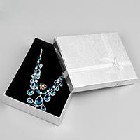Karton Schmuckset Kasten, Papier, Fingerring & Halskette, mit Schwamm & Satinband, Rechteck, mit Dekoration von Bandschleife, 160x130x45mm, 10PCs/Menge, verkauft von Menge