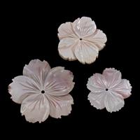 Natürliche Rosa Muschelperlen, Blume, verschiedene Größen vorhanden, Bohrung:ca. 1-2mm, 10PCs/Tasche, verkauft von Tasche