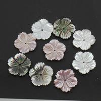 Natürliche Rosa Muschelperlen, mit Weiße Lippenschale & Schwarze Muschel, Blume, verschiedene Größen vorhanden, 20x3mm, Bohrung:ca. 1mm, 10PCs/Tasche, verkauft von Tasche