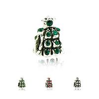 Europa Beads Weihnachten, Zinklegierung, Weihnachtsbaum, antik silberfarben plattiert, ohne troll & mit Strass, keine, frei von Nickel, Blei & Kadmium, 9x12mm, Bohrung:ca. 4.5mm, 10PCs/Menge, verkauft von Menge