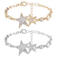 Zinklegierung Armband, Stern, plattiert, Oval-Kette & für Frau & mit Strass, keine, frei von Nickel, Blei & Kadmium, 20x28mm, verkauft per ca. 8.85 ZollInch Strang