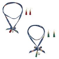 Zinklegierung Schmucksets, Pullover Halskette & Ohrring, Denim, mit Glasperlen & Zinklegierung, goldfarben plattiert, für Frau, keine, 58mm, Länge:ca. 39.4 ZollInch, verkauft von setzen