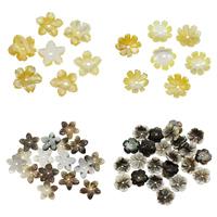 Schwarze Muschelperlen, mit Gelbe Muschel, Blume, verschiedene Stile für Wahl, 10x2mm, Bohrung:ca. 0.5-1mm, 50PCs/Tasche, verkauft von Tasche
