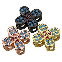 Befestigte Zirkonia Perlen, Messing, Blume, plattiert, Mehrloch- & Micro pave Zirkonia, keine, 8x8x4mm, Bohrung:ca. 1.5mm, 20PCs/Menge, verkauft von Menge