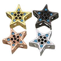 Befestigte Zirkonia Perlen, Messing, Stern, plattiert, Mehrloch- & Micro pave Zirkonia, keine, 10x9.50x4mm, Bohrung:ca. 2mm, 20PCs/Menge, verkauft von Menge