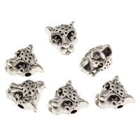 Zinklegierung Tier Perlen, Wolf, antik silberfarben plattiert, frei von Blei & Kadmium, 9x10x7mm, Bohrung:ca. 1.5mm, 10PCs/Tasche, verkauft von Tasche