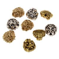 Zinklegierung Tier Perlen, Löwe, plattiert, keine, frei von Blei & Kadmium, 11.50x12x8mm, Bohrung:ca. 1.5mm, 10PCs/Tasche, verkauft von Tasche