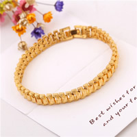 Messing-Armbänder, Messing, 24 K vergoldet, für Frau & satiniert, frei von Nickel, Blei & Kadmium, 8mm, verkauft per ca. 8 ZollInch Strang