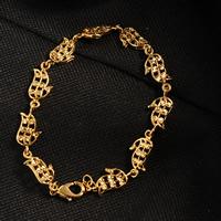 Messing-Armbänder, Messing, 24 K vergoldet, Blume Schnitt & für Frau, frei von Nickel, Blei & Kadmium, 8.5mm, verkauft per ca. 7.5 ZollInch Strang