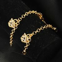 Messing-Armbänder, Messing, 24 K vergoldet, Rolo Kette & für Frau & mit Strass, frei von Nickel, Blei & Kadmium, 5mm, verkauft per ca. 7.5 ZollInch Strang