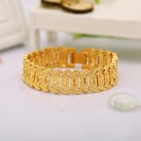 Herren-Armband & Bangle, Messing, 24 K vergoldet, verschiedene Muster für Wahl & für den Menschen, frei von Nickel, Blei & Kadmium, 17mm, verkauft per ca. 8 ZollInch Strang