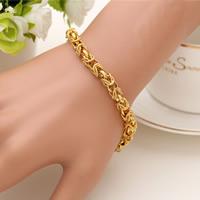 Herren-Armband & Bangle, Messing, 24 K vergoldet, Seil-Kette & für den Menschen, frei von Nickel, Blei & Kadmium, 6mm, verkauft per ca. 7.5 ZollInch Strang