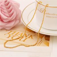 Messing Halskette, 24 K vergoldet, Kugelkette & für Frau & satiniert, frei von Nickel, Blei & Kadmium, 2mm, verkauft per ca. 18 ZollInch Strang