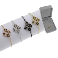 Befestiger Zirkonia Messing Armband, plattiert, einstellbar & Kastenkette & Micro pave Zirkonia & für Frau, keine, frei von Blei & Kadmium, 26.50x16.50x2mm, Länge:ca. 7.5 ZollInch, verkauft von Box