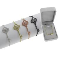 Befestiger Zirkonia Messing Armband, Schlüssel, plattiert, einstellbar & Kastenkette & Micro pave Zirkonia & für Frau, keine, frei von Blei & Kadmium, 13.50x34.50x2mm, Länge:ca. 7.5 ZollInch, verkauft von Box