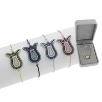 Befestiger Zirkonia Messing Armband, Blume, plattiert, einstellbar & Kastenkette & Micro pave Zirkonia & für Frau, keine, frei von Blei & Kadmium, 19x28x2mm, Länge:ca. 7.5 ZollInch, verkauft von Box
