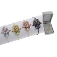 Hamsa Armbänder, Messing, plattiert, einstellbar & Kastenkette & Micro pave Zirkonia & für Frau, keine, frei von Blei & Kadmium, 24x30x2mm, Länge:ca. 7.5 ZollInch, verkauft von Box