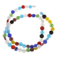 Handgewickelte Perlen, Lampwork, flache Runde, handgemacht, 6x2.5mm, Bohrung:ca. 1mm, ca. 32PCs/Strang, verkauft per ca. 14 ZollInch Strang