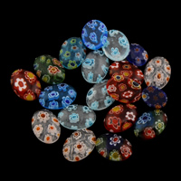 Millefiori Lampwork Perle, flachoval, handgemacht, kein Loch, gemischte Farben, 8x10x3mm, verkauft von PC