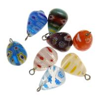 Handgewickelte Perlen, Lampwork, mit Zinklegierung Stiftöse, handgemacht, gemischte Farben, 12x19mm, Bohrung:ca. 2mm, verkauft von PC