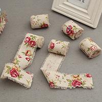 Burlap Ribbon, Baumwollgewebe, mit Blumenmuster, 50mm, Länge:ca. 1 m, verkauft von PC