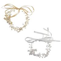 Braut Haarband, Zinklegierung, mit Satinband & Glasperlen, plattiert, für Braut & für Frau, keine, frei von Nickel, Blei & Kadmium, 320mm, Länge:ca. 12.6 ZollInch, verkauft von PC