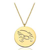 Edelstahl Schmuck Halskette, mit Verlängerungskettchen von 1.5Inch, Krebs, goldfarben plattiert, Mit Verpackungskasten & Oval-Kette & für Frau & hohl, 25x29mm, 2mm, verkauft per ca. 20 ZollInch Strang