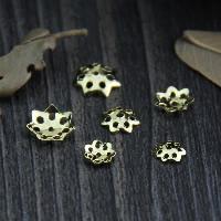 925 Sterling Silber Perlenkappe, Blume, vergoldet, verschiedene Größen vorhanden & hohl, verkauft von Menge