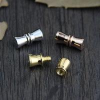 925 Sterling Silber Schraubschließe, Schleife, plattiert, keine, 5x11.10mm, Bohrung:ca. 1mm, 3PCs/Menge, verkauft von Menge