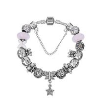 European Armband, Zinklegierung, mit Zink-Legierung Perle & Messingkette & Lampwork & Emaille, plattiert, unterschiedliche Länge der Wahl & für Frau & mit Strass, frei von Blei & Kadmium, verkauft von Strang