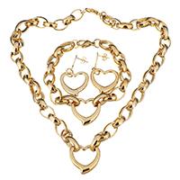Edelstahl Schmucksets, Armband & Ohrring & Halskette, Herz, goldfarben plattiert, Oval-Kette & für Frau, 24x23.5mm, 10mm, 24x23.5mm, 10mm, 42mm, 24x23.5mm, Länge:ca. 18 ZollInch, ca. 8.5 ZollInch, verkauft von setzen