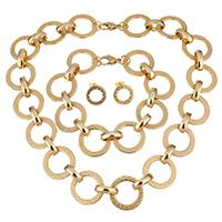 Edelstahl Schmucksets, Armband & Ohrring & Halskette, Kreisring, goldfarben plattiert, Rolo Kette & für Frau, 22mm, 22mm, 14mm, Länge:ca. 18 ZollInch, ca. 9 ZollInch, verkauft von setzen