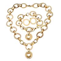 Edelstahl Schmucksets, Armband & Ohrring & Halskette, Kreisring, goldfarben plattiert, Rolo Kette & für Frau, 21mm, 10mm, 21mm, 10mm, 21mm, Länge:ca. 17.5 ZollInch, ca. 8.5 ZollInch, verkauft von setzen