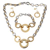 Edelstahl Schmucksets, Armband & Ohrring & Halskette, Kreisring, plattiert, Oval-Kette & für Frau, 30mm, 11mm, 30mm, 11mm, 41mm, 21mm, Länge:ca. 20.5 ZollInch, ca. 8 ZollInch, verkauft von setzen